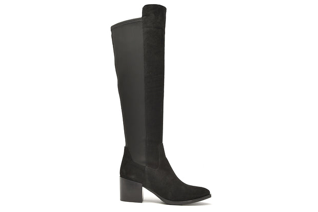 Black Suede Stretch Back Boots