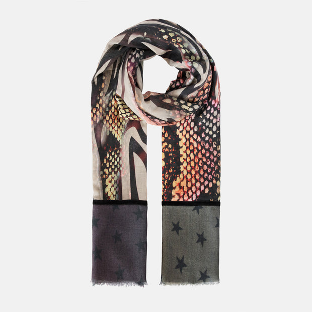 Wool & Silk Mix Scarf with Velvet