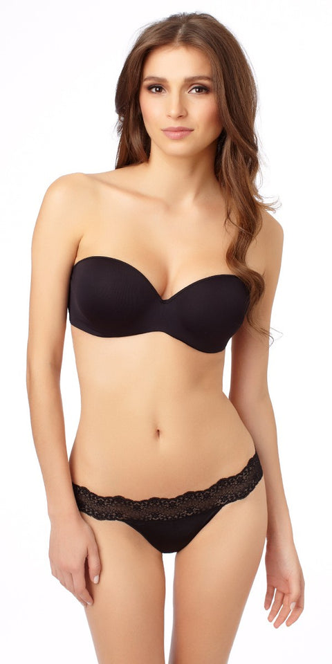 Sculptural Strapless Bra - Black