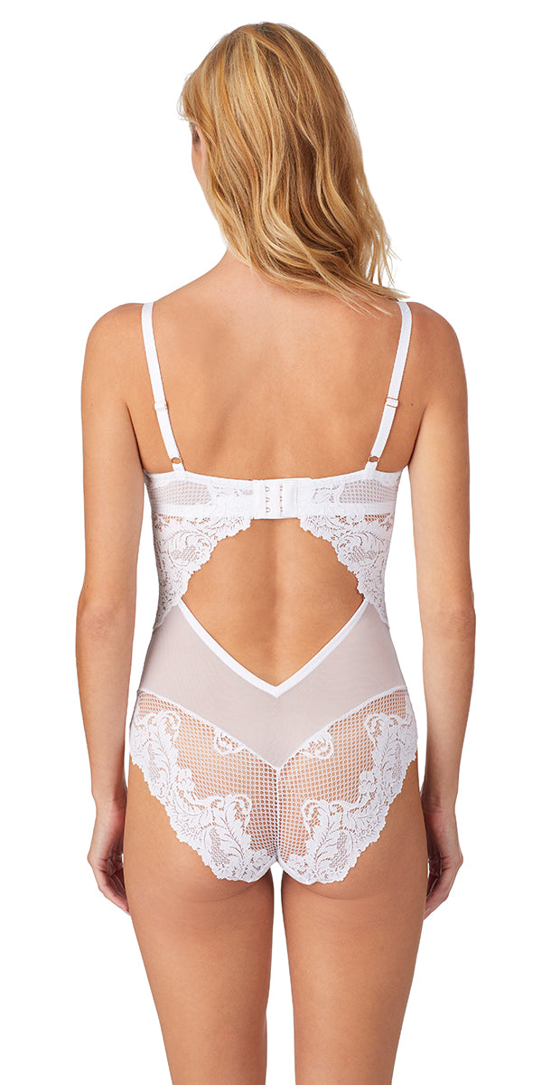 Lace Allure Bodysuit - Crystal White