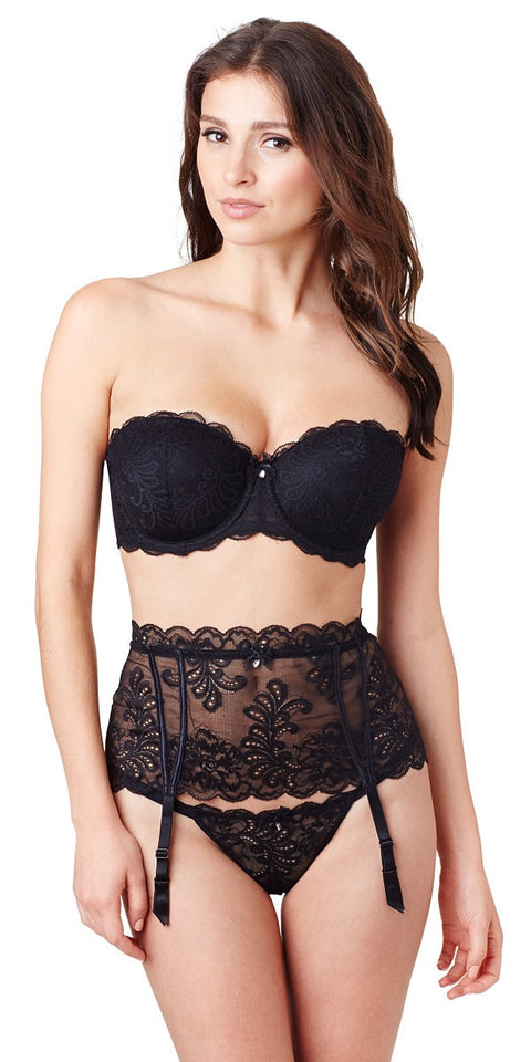 Sophia Lace Strapless Bra - Black