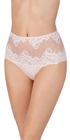Lace Allure High Waist Thong - Pink Chiffon