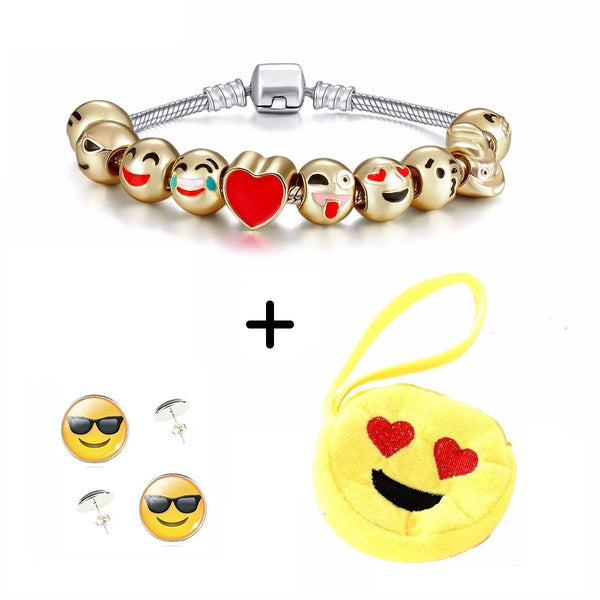 Smiley Emoji girls Bracelet, Earrings Include a Yellow Purse [Stuff Pack - 3 Items]