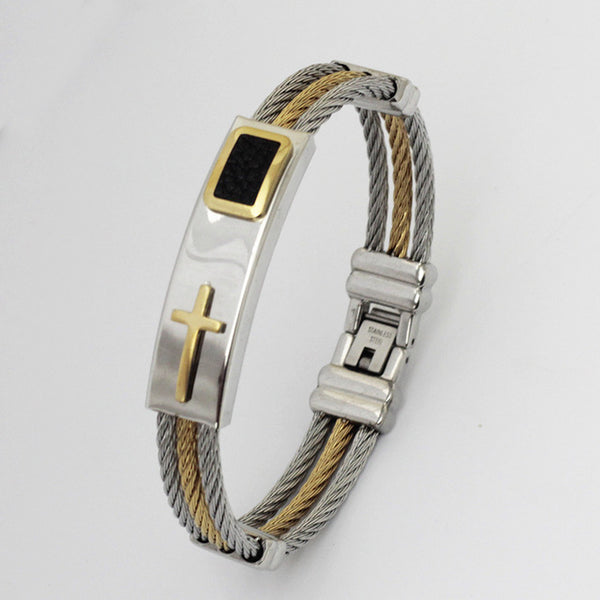 3 Rows Wire Chain  Stainless Steel Cross Bracelet