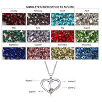 Personalized Name Birthstone Heart 925