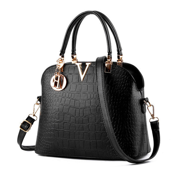 Women Alligator Black Handbag Letter