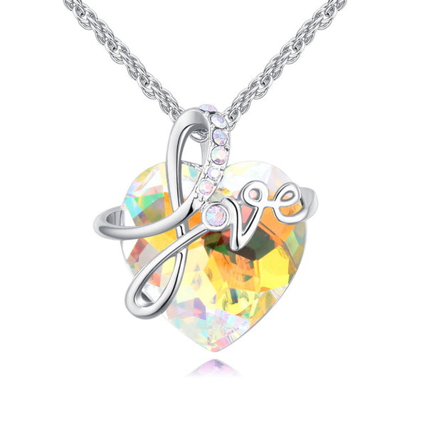 Romantic Heart Necklace Real Crystals From Swarovski