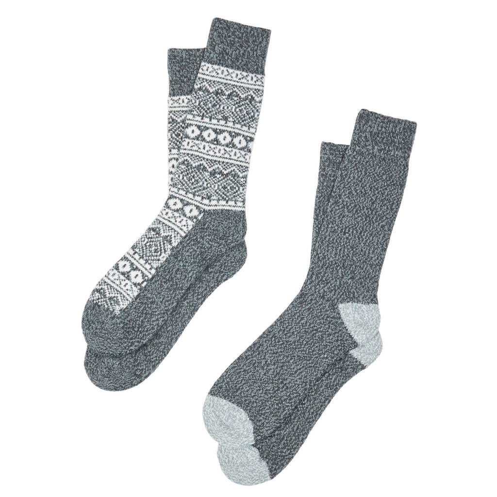 Mens Geo Fairisle Crew Sock 2Pk