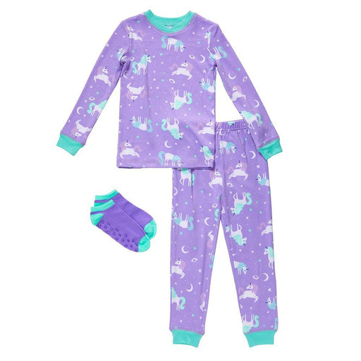 Girls Long Sleeve Top & Jogger Pajama with Sock