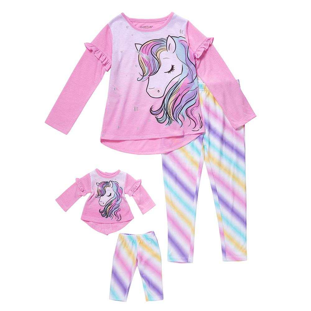 Girls Long Sleeve Top & Jogger Pajama with Matching Doll Pajama Set