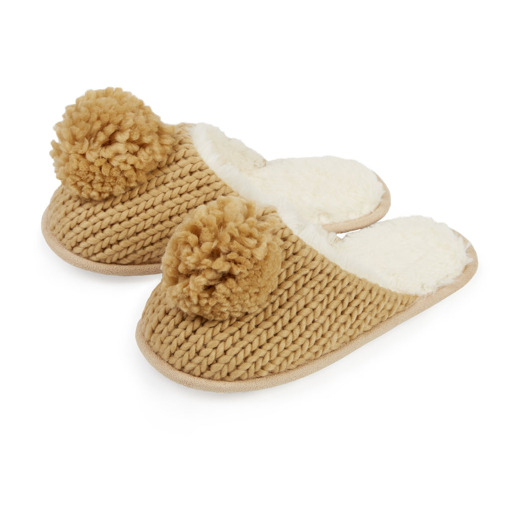 Chunky Knit Slipper Slide with Pom
