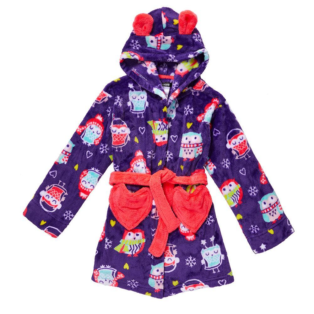 Girls Plush Owl Print Robe