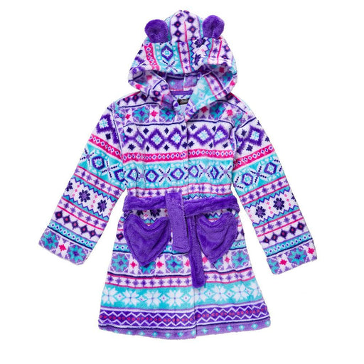 Girls Plush Fairisle Print Robe