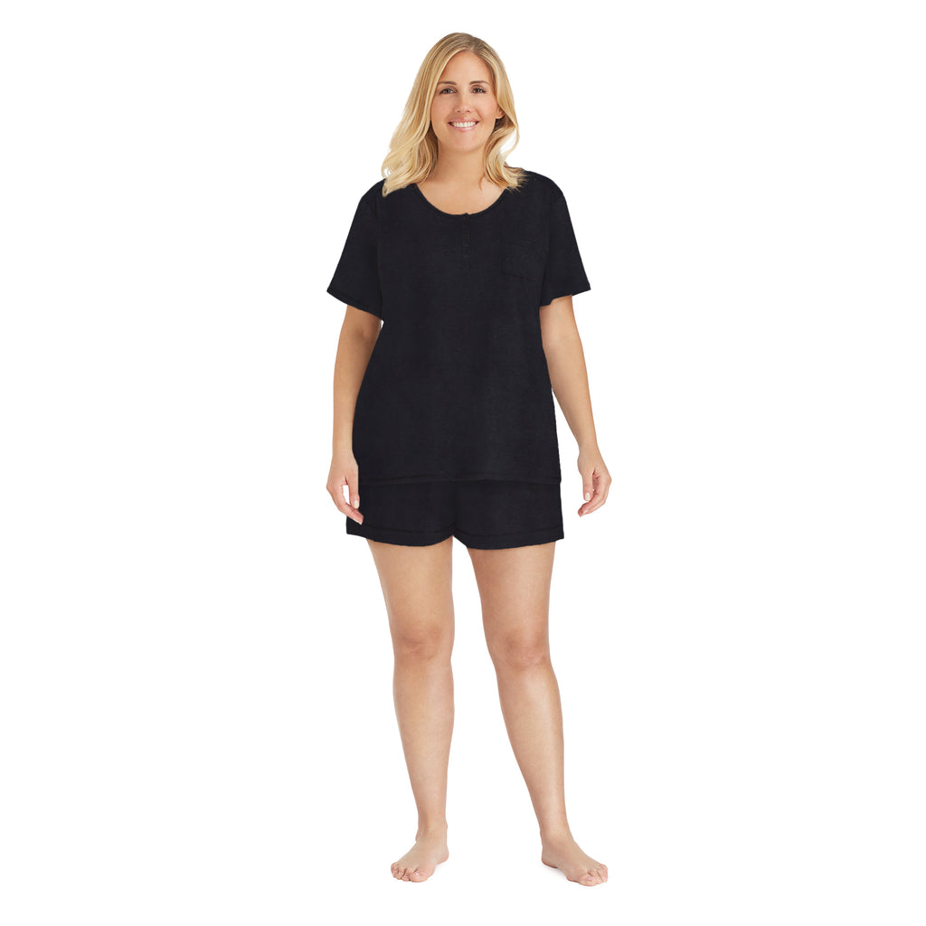 Women's Plus Size Essential Cap Sleeve Boxer Set