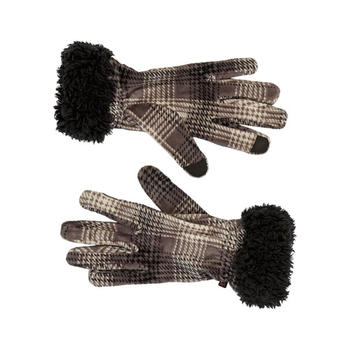 Double Plush Velour & Faux Fur Gloves with Sherpa Cuff