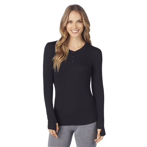 Softwear With Stretch Ribbed Long Sleeve Henley