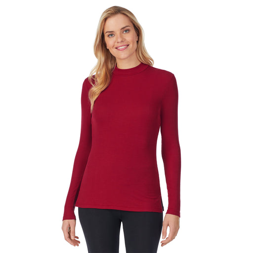 Softwear With Stretch Ribbed Long Sleeve Mock Neck