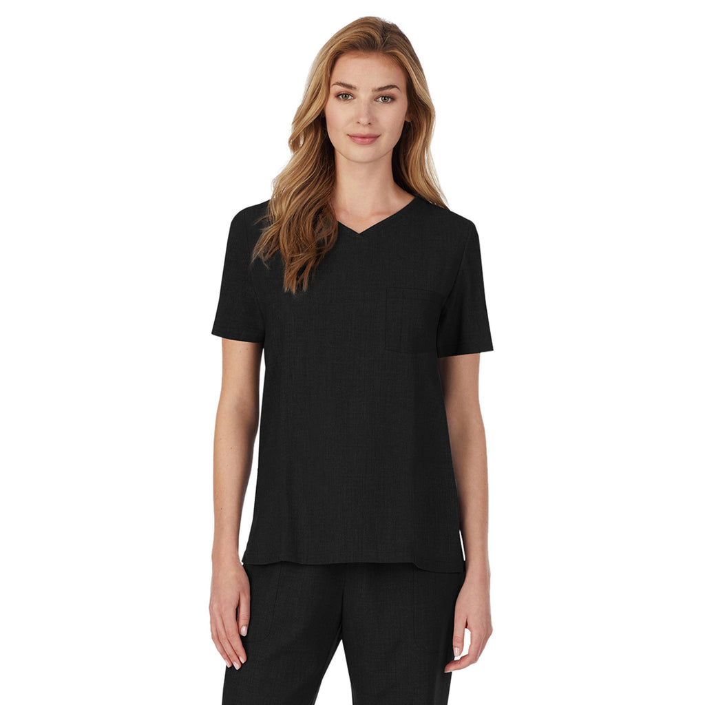 Womens Scrub V-Neck Top with Chest Pocket PETITE
