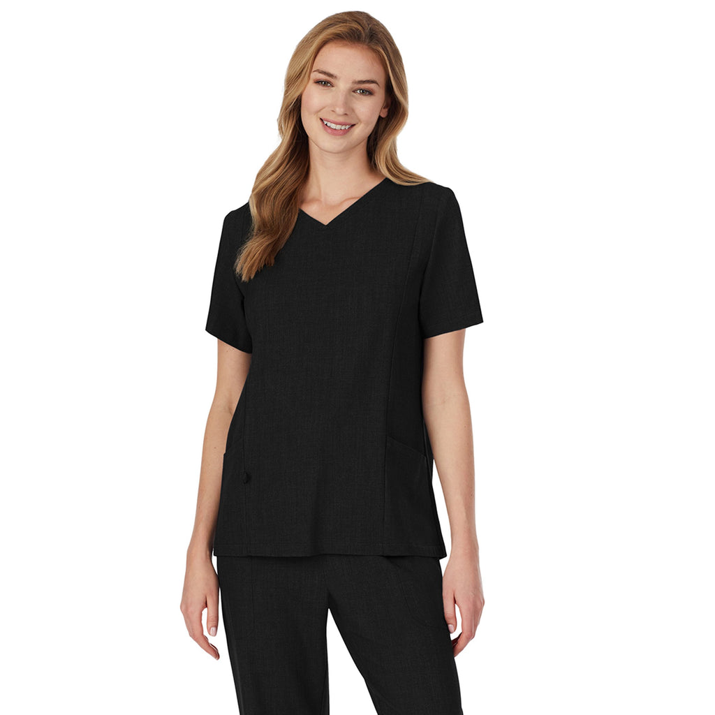Womens Scrub V-Neck Top with Side Pockets PETITE