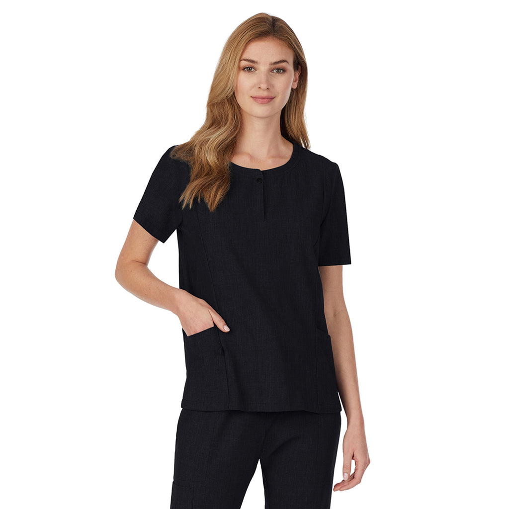 Womens Scrub Henley Neck Top with Side Pockets PETITE
