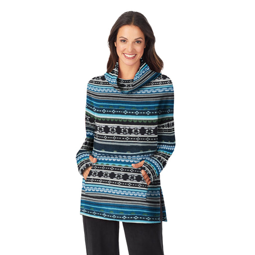 "Blue Fairisle;Model is wearing size S. She is 5'9"", Bust 32"", Waist 25"", Hips 35""."