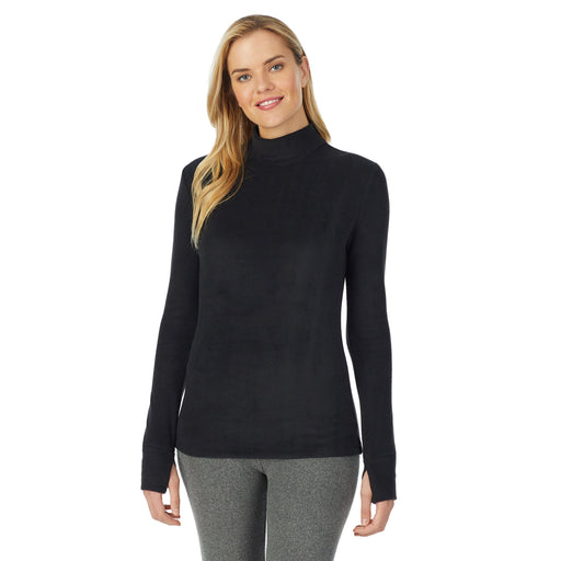 Fleecewear With Stretch Long Sleeve Mock Neck