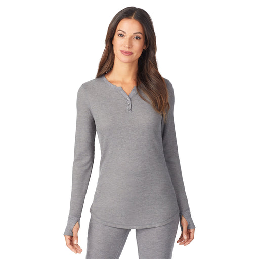 Stretch Thermal Long Sleeve Split V-Neck