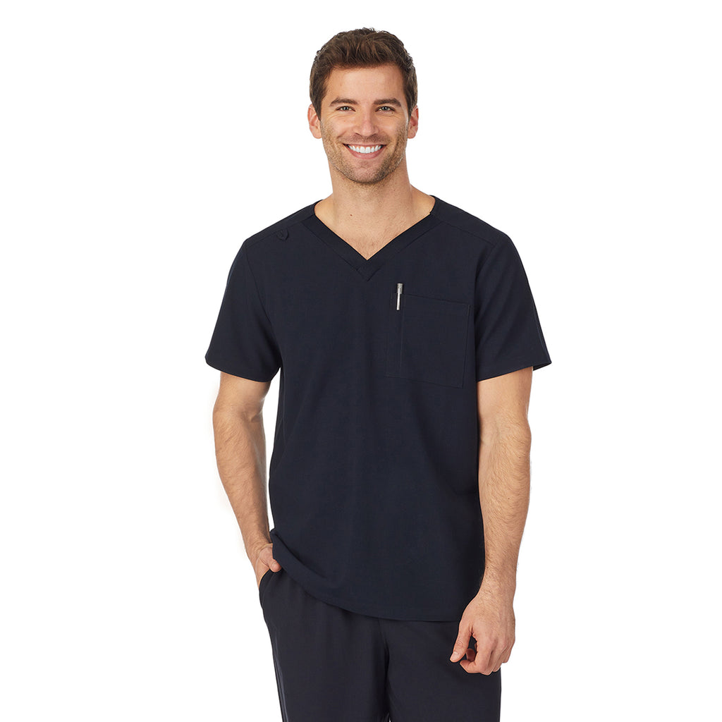 Mens Scrub V-Neck Top with Chest Pocket