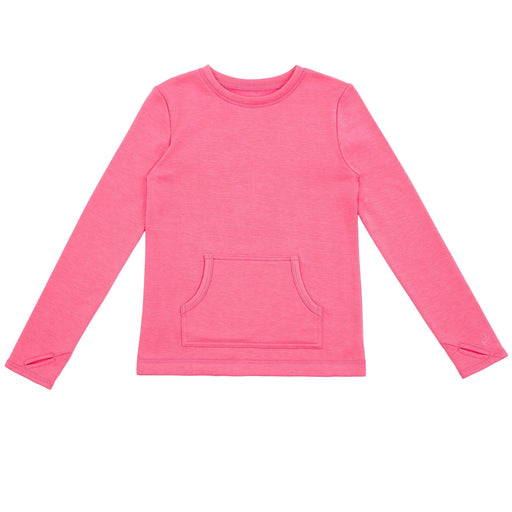 Girls Ultra Plush Long Sleeve Crew Top w/Kangaroo Pocket