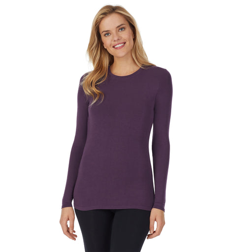"Boysenberry Purple;Model is wearing size S. She is 5'10"", Bust 34"", Waist 26"