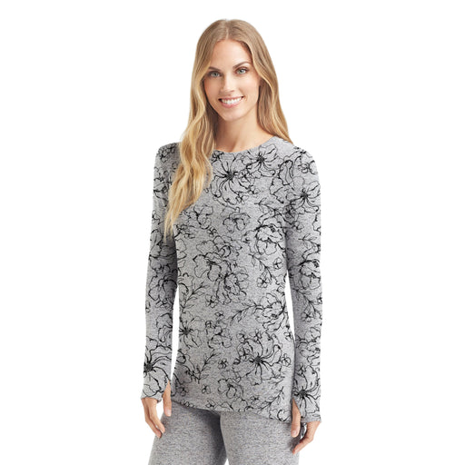 Grey Floral;Model is wearing size S.She is 5'9