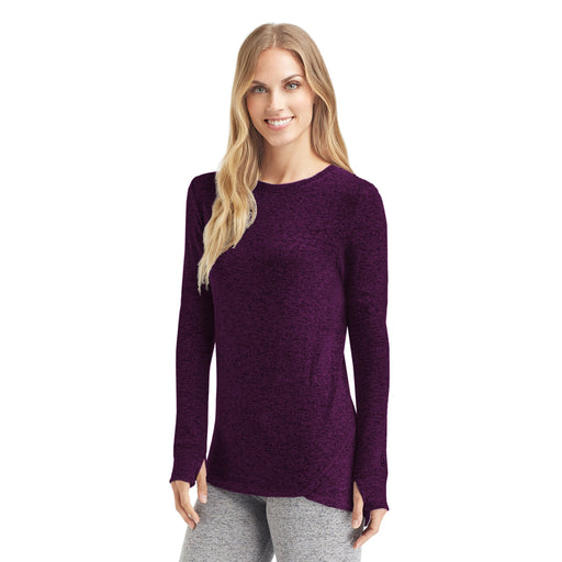 Marled Boysenberry;Model is wearing size S.She is 5'9