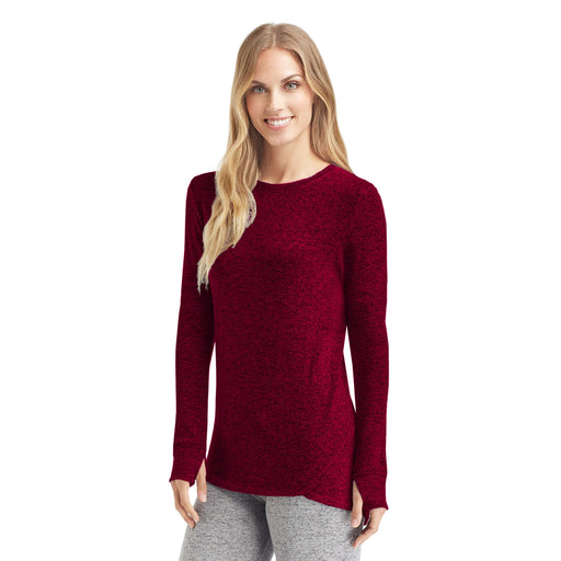 Marled Deep Red;Model is wearing size S.She is 5'9