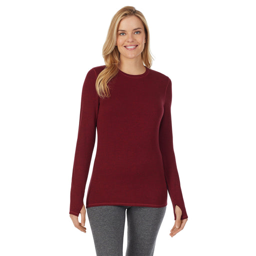 "Deep Red Heather;Model is wearing size S. She is 5'10"", Bust 34"", Waist 26"