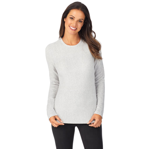"Light Grey Heather;Model is wearing size S. She is 5'9"", Bust 32"", Waist 25"", Hips 35""."