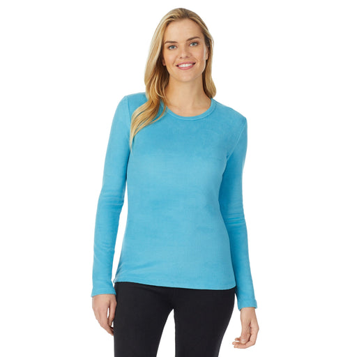 "Cerulean Blue;Model is wearing size S. She is 5'10"", Bust 34"", Waist 26"