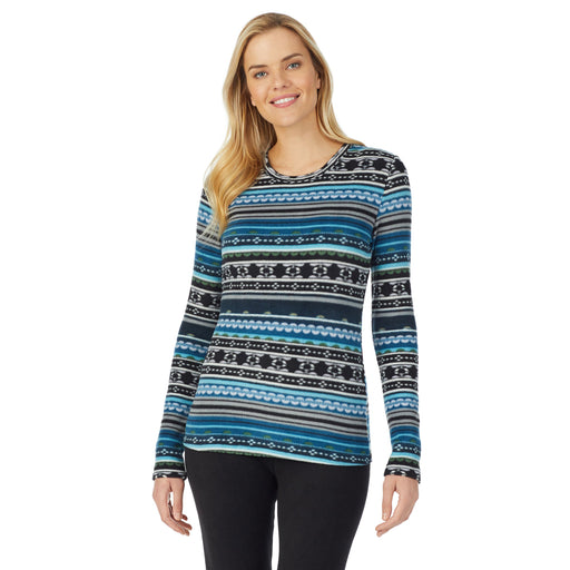 "Blue Fairisle;Model is wearing size S. She is 5'10"", Bust 34"", Waist 26"