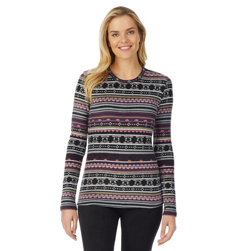 "Purple Fairisle;Model is wearing size S. She is 5'10"", Bust 34"", Waist 26"