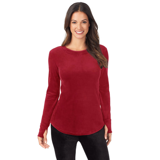 "Deep Red;Model is wearing size S. She is 5'9"", Bust 32"", Waist 25"", Hips 35""."