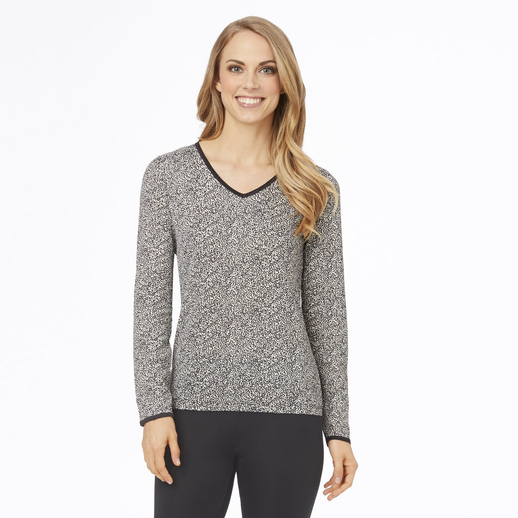 Softwear Lace Edge Long Sleeve V-Neck