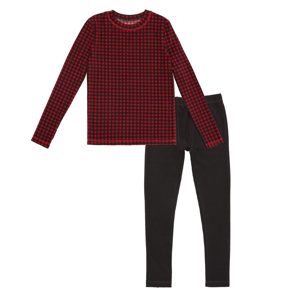 Boys Texture Grid 2 pc. Long Sleeve Crew & Pant Set