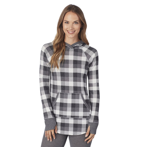 "Grey Buffalo Check;Model is wearing size S. She is 5'9"", Bust 32"", Waist 25.5"", Hips 36""."