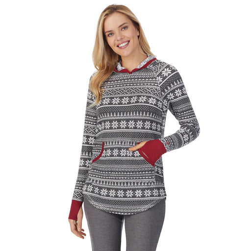 "Grey Fairisle;Model is wearing size S. She is 5'10"", Bust 34"", Waist 26"