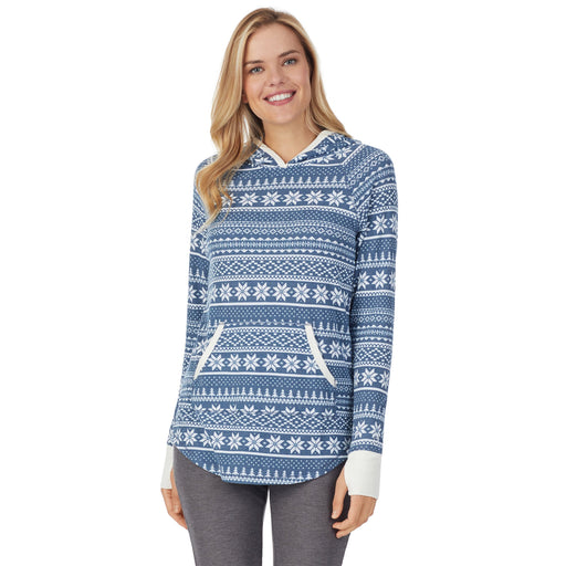 "Peacock Blue Fairisle;Model is wearing size S. She is 5'10"", Bust 34"", Waist 26"