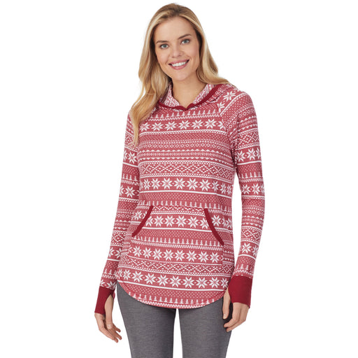 "Deep Red Fairisle;Model is wearing size S. She is 5'10"", Bust 34"", Waist 26"