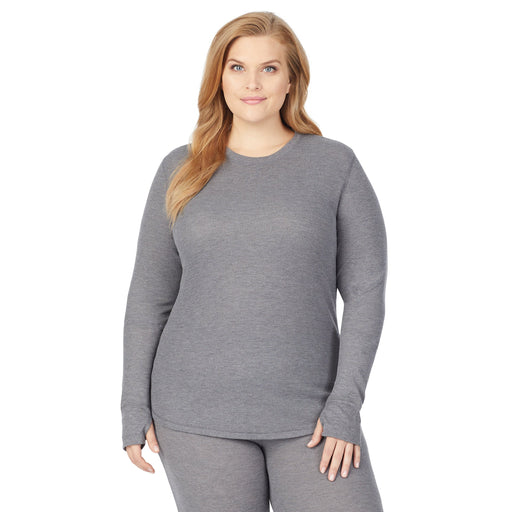 Stone Grey Heather;Model is wearing size 1x. She is 5'9
