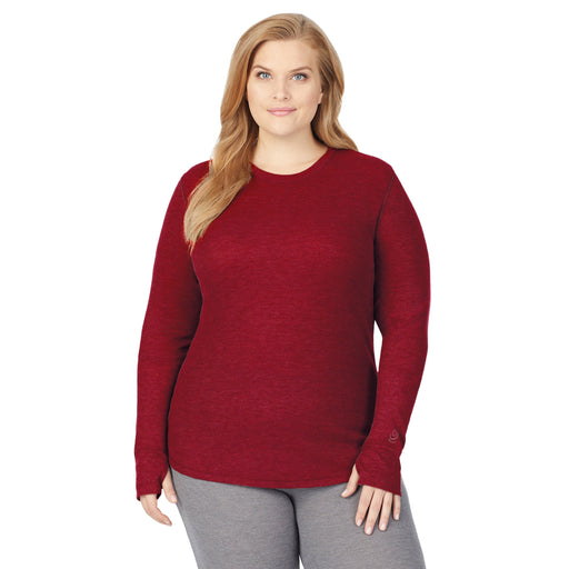 Deep Red;Model is wearing size 1x. She is 5'9