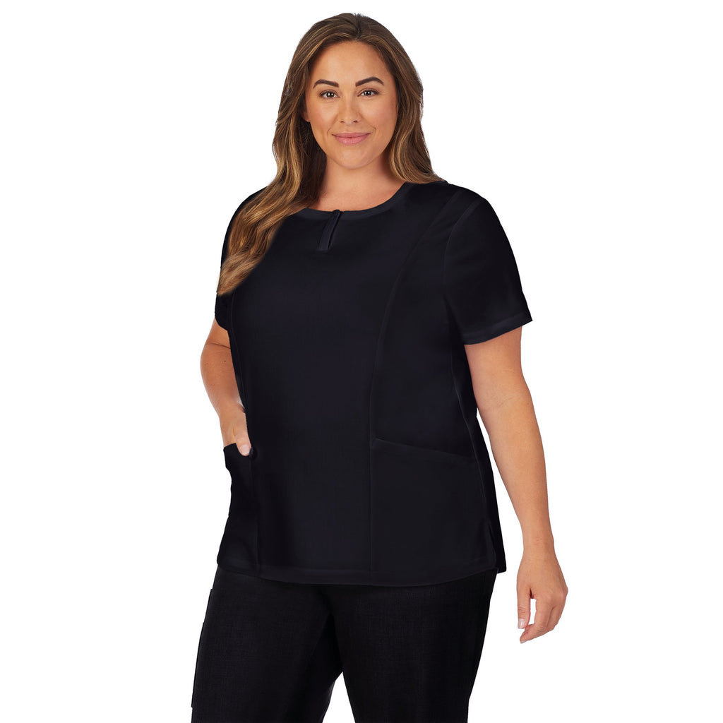 Womens Scrub Henley Neck Top with Side Pockets PLUS
