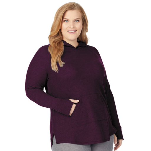 Stretch Thermal Long Sleeve Hoodie Tunic PLUS