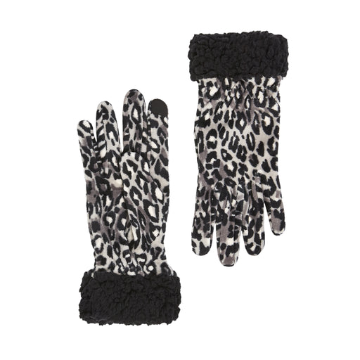 Double Plush Velour and Faux Fur Gloves with Sherpa Cuff